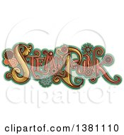 Clipart Of Steampunk Text With Gears Over Turquoise Royalty Free Vector Illustration by BNP Design Studio