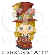 Cute Blond Caucasian Steampunk Girl Posing In A Dress And Hat