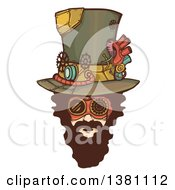 Clipart Of A Bearded White Steampunk Mans Face Wearing A Top Hat Royalty Free Vector Illustration