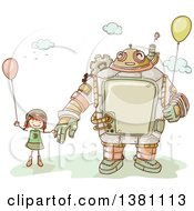 Clipart Of A Sketched Steampunk Robot And Stick Girl Holding Balloons Royalty Free Vector Illustration