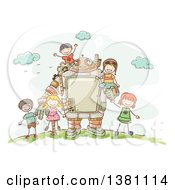 Poster, Art Print Of Sketched Steampunk Robot And Stick Children Outdoors