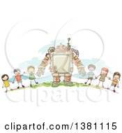 Clipart Of A Sketched Steampunk Robot And Stick Children Holding Hands Outside Royalty Free Vector Illustration
