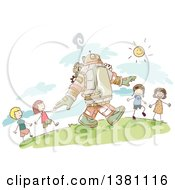 Clipart Of A Sketched Steampunk Robot And Stick Children Walking Outside Royalty Free Vector Illustration