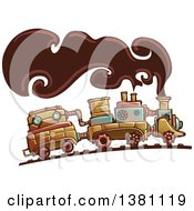 Clipart Of A Steampunk Train With Smoke Royalty Free Vector Illustration by BNP Design Studio