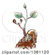 Clipart Of A Steampunk Sprouting Bean Seedling Plant With Metal Cables Royalty Free Vector Illustration
