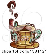 Clipart Of A Steampunk Coffee Cup With Steam Royalty Free Vector Illustration