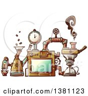 Clipart Of A Steampunk Coffee Maker Invention Royalty Free Vector Illustration
