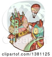 Clipart Of A Hot Air Balloon Over A Steampunk City Royalty Free Vector Illustration