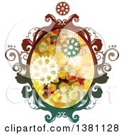 Clipart Of A Colorful Oval Steampunk Frame With Gears Royalty Free Vector Illustration