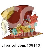 Clipart Of A Steampunk Top Hat With Gears Royalty Free Vector Illustration by BNP Design Studio