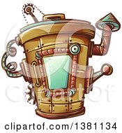 Clipart Of A Steampunk Trash Can Royalty Free Vector Illustration