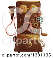 Clipart Of A Victorian Steampunk Telephone Royalty Free Vector Illustration