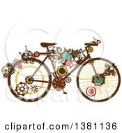 Clipart Of A Steampunk Bicycle With Gears Royalty Free Vector Illustration