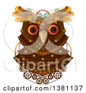 Clipart Of A Steampunk Owl Head With Gears Royalty Free Vector Illustration by BNP Design Studio