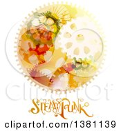 Clipart Of A Round Steampunk Frame With Gears And Text Royalty Free Vector Illustration