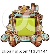 Clipart Of A Sitting Steampunk Robot With A Frame Body Royalty Free Vector Illustration by BNP Design Studio