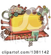 Clipart Of A Steampunk Screen With Gears Lights Pipes Springs And A Bird Royalty Free Vector Illustration