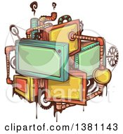 Clipart Of A Steampunk Frame Gear And Pipe Design Royalty Free Vector Illustration