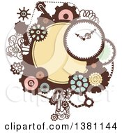 Clipart Of A Steampunk Frame With A Clock And Gears Royalty Free Vector Illustration