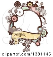Clipart Of A Steampunk Frame With A Banner And Text Royalty Free Vector Illustration