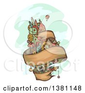 Clipart Of A Floating Steampunk Island With A Ribbon Banner And Hot Air Balloon Royalty Free Vector Illustration