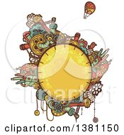Clipart Of A Round Steampunk Planet With Cities And A Hot Air Balloon Royalty Free Vector Illustration by BNP Design Studio