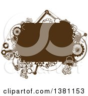 Clipart Of A Brown Steampunk Frame With Gears Royalty Free Vector Illustration