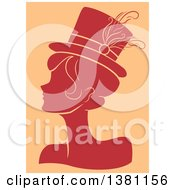 Clipart Of A Red Silhouetted Burlesque Woman Wearing A Hat Over Tan Royalty Free Vector Illustration