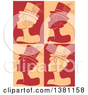 Clipart Of Silhouetted Burlesque Women Wearing Hats Over Tan And Red Royalty Free Vector Illustration