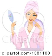 Clipart Of A Happy Caucasian Woman Holding A Mirror And Wearing A Spa Robe Royalty Free Vector Illustration by BNP Design Studio