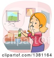 Clipart Of A Cartoon Red Haired Caucasian Woman Plugging Her Nose And Spraying Insecticide To Kill Bugs In Her Home Royalty Free Vector Illustration