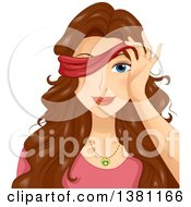 Clipart Of A Brunette White Woman Peeking Through A Blindfold Royalty Free Vector Illustration