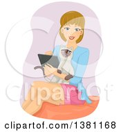 Clipart Of A Happy Dirty Blond Caucasian Woman Using A Tablet With Her Cat In Her Lap Royalty Free Vector Illustration by BNP Design Studio