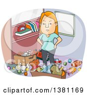 Clipart Of A Cartoon Angry Red Haired White Woman Standing In A Messy Room Royalty Free Vector Illustration