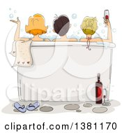 Clipart Of A Sketched Rear View Of Three Ladies Enjoying A Bath With Wine At A Spa Text Space On The Tub Royalty Free Vector Illustration