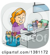 Clipart Of A Cartoon Red Haired White Woman Using A Self Checkout At A Grocery Store Royalty Free Vector Illustration