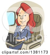 Clipart Of A Cartoon Red Haired White Woman Using A Laptop On A Plane Royalty Free Vector Illustration