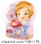 Clipart Of A Happy Blond Caucasian Woman Decorating A Hat On A Mannequin Royalty Free Vector Illustration