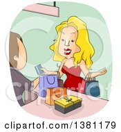 Clipart Of A Male Cashier Ringing Up A Rich Blond White Woman Paying With A Credit Card Royalty Free Vector Illustration
