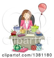 Clipart Of A Cartoon Happy Brunette Caucasian Business Woman With Birthday Gifts On Her Desk Royalty Free Vector Illustration