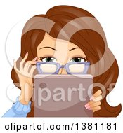 Clipart Of A Brunette Caucasian Woman Adjusting Her Glasses And Looking Over A Tablet Royalty Free Vector Illustration
