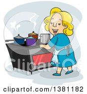 Clipart Of A Cartoon Happy Blond White Woman Cooking On An Induction Cook Top Royalty Free Vector Illustration