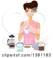 Happy Brunette White Woman Adding Sugar To Her Coffee