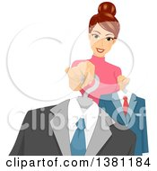 Clipart Of A Brunette Caucasian Female Personal Shopper Holding Out A Suit Royalty Free Vector Illustration by BNP Design Studio