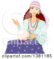Clipart Of A Brunette White Gypsy Woman Touching A Crystal Ball Royalty Free Vector Illustration by BNP Design Studio