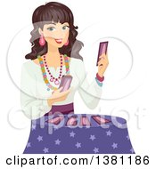 Happy Gypsy Woman Holding Tarot Cards