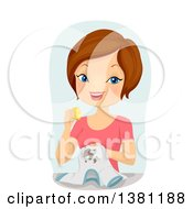 Clipart Of A Brunette Caucasian Woman Removing A Shirt Stain With A Lemon Royalty Free Vector Illustration by BNP Design Studio