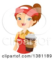 Clipart Of A Brunette Caucasian Woman Holding Out A Fast Food Coffee Royalty Free Vector Illustration
