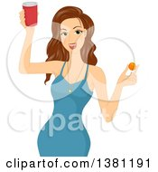 Clipart Of A Brunette White Woman In A Blue Dress Holding A Red Cup Of Beer And A Ping Pong Ball Royalty Free Vector Illustration