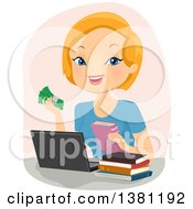 Happy Strawberry Blond Caucasian Woman Selling Books Online